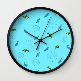 Blue Dolphin and Orca Wall Clock
