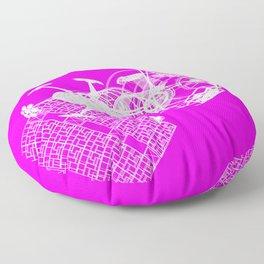 Explorer White on Pink Floor Pillow