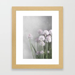 Lavender Flowers on Green Chives Framed Art Print
