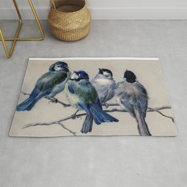 Vintage Cute Blue Birds on Branch Rug