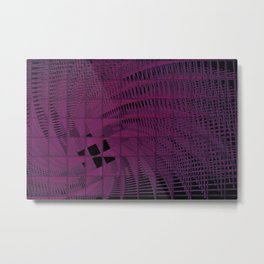 Magenta Square Spiral Abstract Metal Print