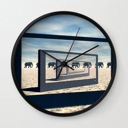 Surreal Elephant Desert Scene Wall Clock