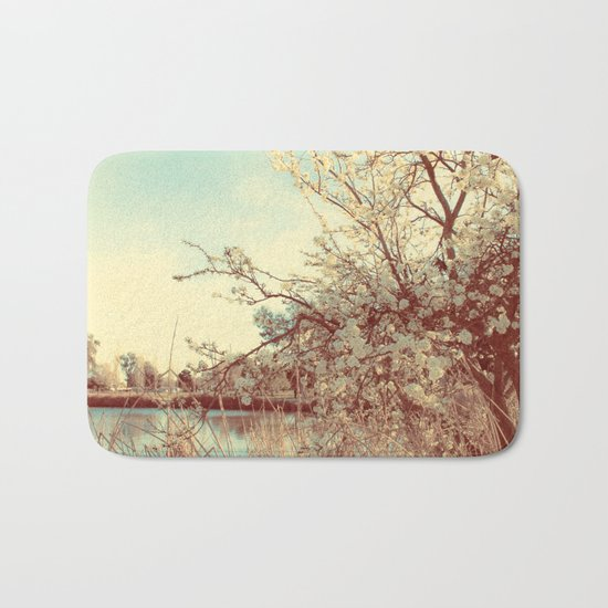 Hello Spring! (White Cherry Blossom by the Lake) Bath Mat