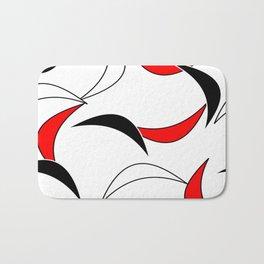 Mid Century Modern Red Black Bath Mat