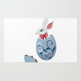 Cute Easter Bunny in cracked egg Rug