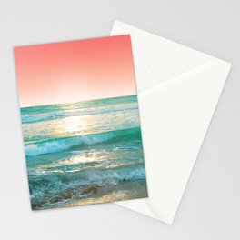 Aqua and Coral, 1 Stationery Cards