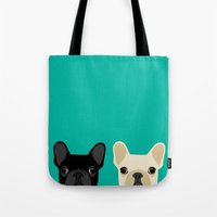 onesie Tote Bags featuring 2 French Bulldogs by Anne Was Here