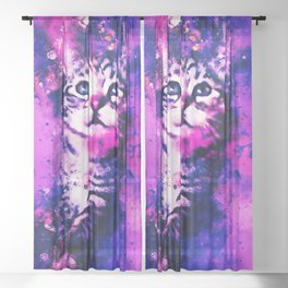 pianca baby cat kitten splatter watercolor purple pink Sheer Curtain