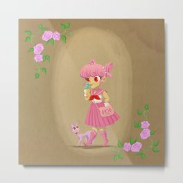 Retro Sailor Chibi Moon Metal Print