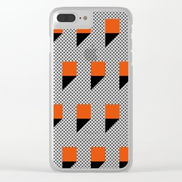 A lot of orange 3d Commas, planted in a carpet with black dots. Clear iPhone Case