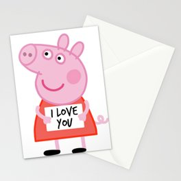 Peppa pig  i love u Stationery Cards