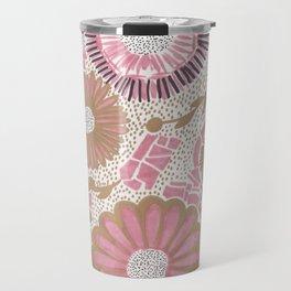 Pink & Gold Flowers Travel Mug