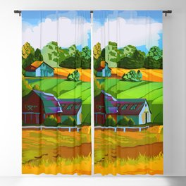 Landscape of autumn farm field Blackout Curtain