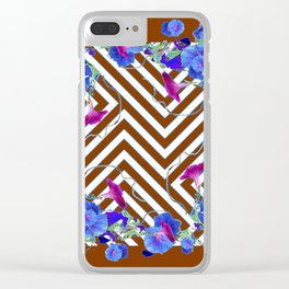 Coffee Brown Blue Morning Glories Abstract Pattern garden  Art Clear iPhone Case