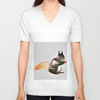 squirrel V-neck T-shirts featuring squirrel by KrisLeov