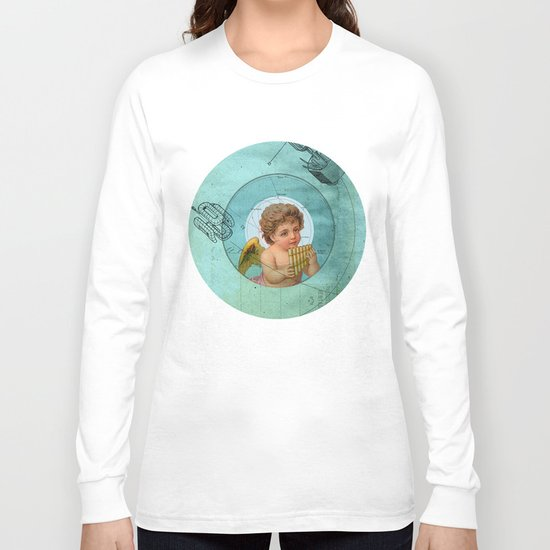 Angel playing music in space Long Sleeve T-shirt