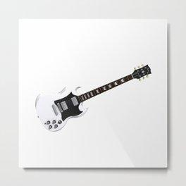 White Electric Guitar Metal Print