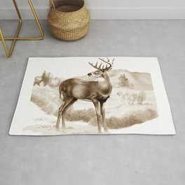 White-tailed Stag Sniffing the Air Rug