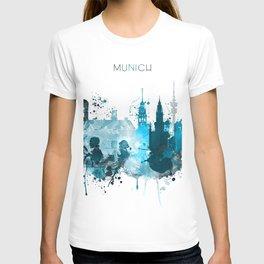 Munich Monochrome Blue Skyline T-shirt