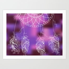 violet ethnic pattern with feathers Art Print