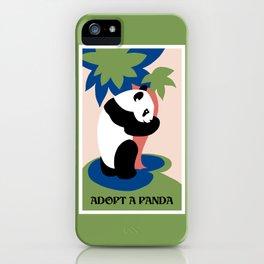 Fun retro adopt a panda iPhone Case