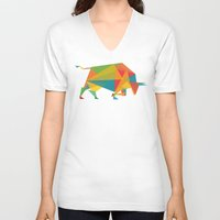indonesia V-neck T-shirts featuring Fractal Geometric Bull by Picomodi