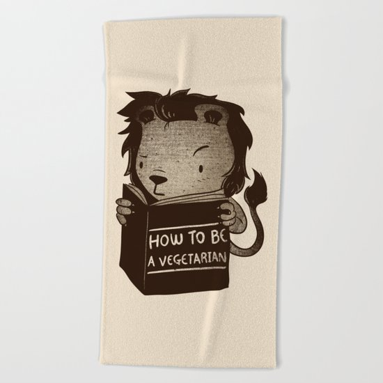 Lion Book How To Be Vegetarian Beach Towel