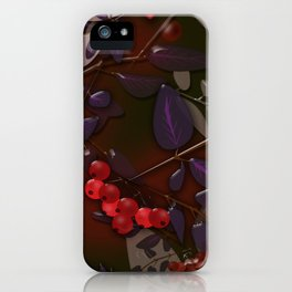 Seamless pattern with colorful autumn leaves and rowanberry on black glassy effect iPhone Case