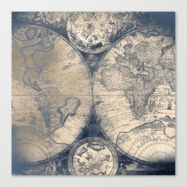 Antique World Map White Gold Navy Blue by Nature Magick Canvas Print