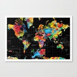 World Map Black - 1 Canvas Print
