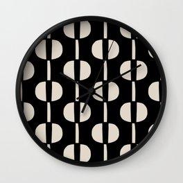 Modernist Geometric Pattern 438 Black and Linen White Wall Clock