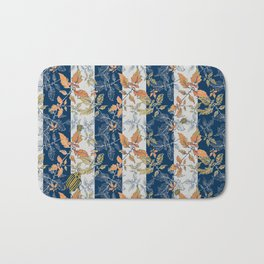 Tomatoes leaves in coral and blue stripes Pantone palette Bath Mat