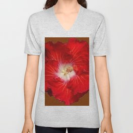 COFFEE BROWN RED & WHITE HIBISCUS FLOWER Unisex V-Neck