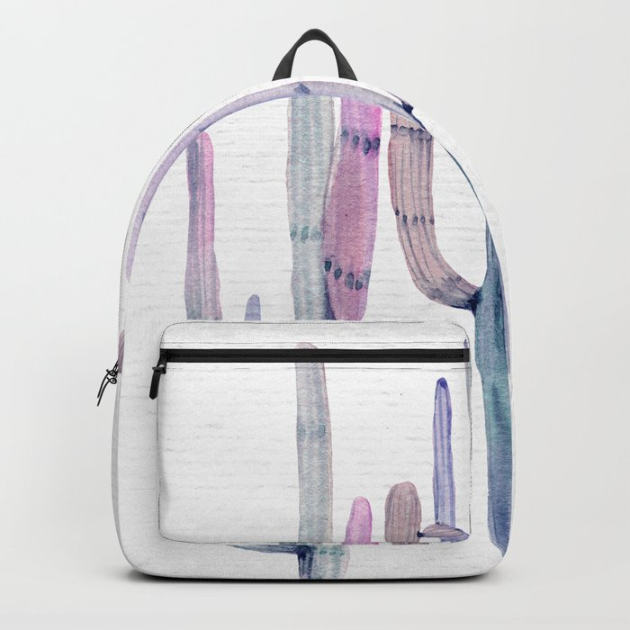 Cactus Trio Blue Watercolor by Nature Magick Backpack