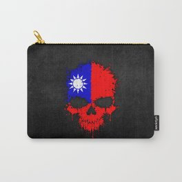 Flag of Taiwan on a Chaotic Splatter Skull Carry-All Pouch