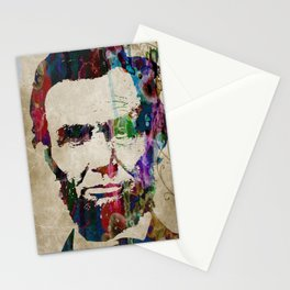 Abraham Lincoln Watercolor Modern Abstract GIANT PRINT ART Stationery Cards