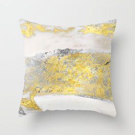 Silver and Gold Marble Design Throw Pillow