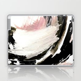 Crash: an abstract mixed media piece in black white and pink Laptop & iPad Skin
