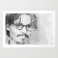 johnny depp Art Prints featuring Johnny Depp by Ammar ZABOUN