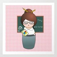 teacher Art Prints featuring Kokeshi Teacher  by Pendientera