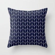 Chevron pattern -  white on darkblue Throw Pillow