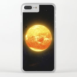 Space debris and gas planet orbiting red star. Outer Space, Cosmic Art and Science Fiction Concept. Clear iPhone Case