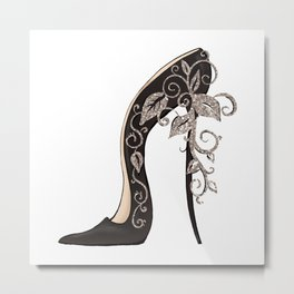 Black stiletto shoe floral swirls decoration Metal Print