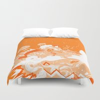 ufo Duvet Covers featuring UFO Fighter by Yiche Feng