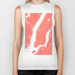 Living Coral New York City NYC Map II Biker Tank