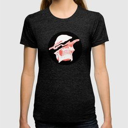 Liquify Skull in black and living coral T-shirt