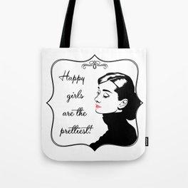 Pretty happy Audrey Hepburn! Tote Bag