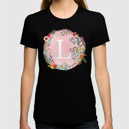 Flower Wreath with Personalized Monogram Initial Letter L on Pink Watercolor Paper Texture Artwork T-shirt