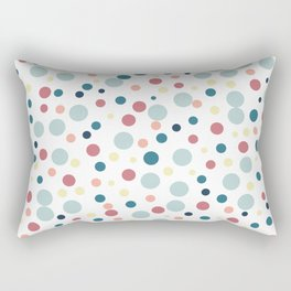 Polka Dots Pattern inTeal, Pale Blue and Red Rectangular Pillow