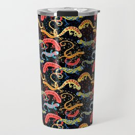 Vector graphic beautiful pattern of colored Salamander Travel Mug